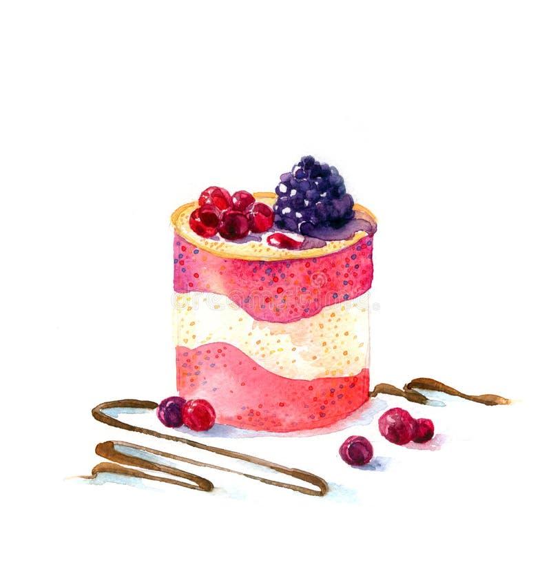 A aquarela do bolo da sobremesa da forma redonda do bolo foto de stock