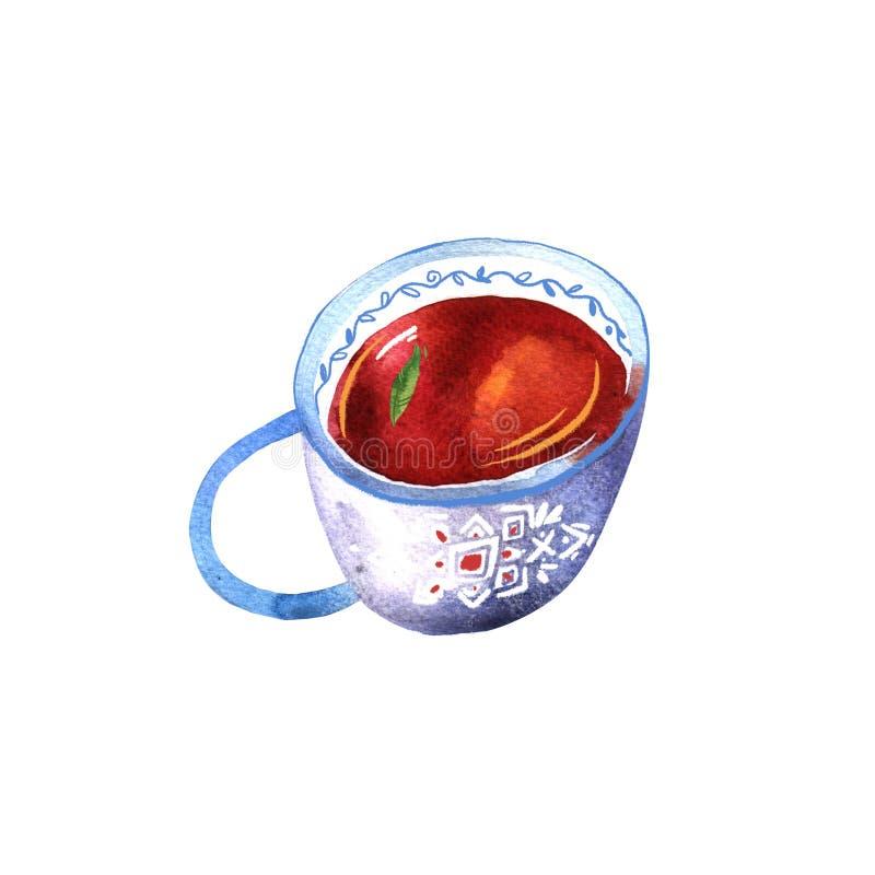 Aquarela do copo Xícara de chá bonita pintado à mão com chá preto imagem de stock royalty free