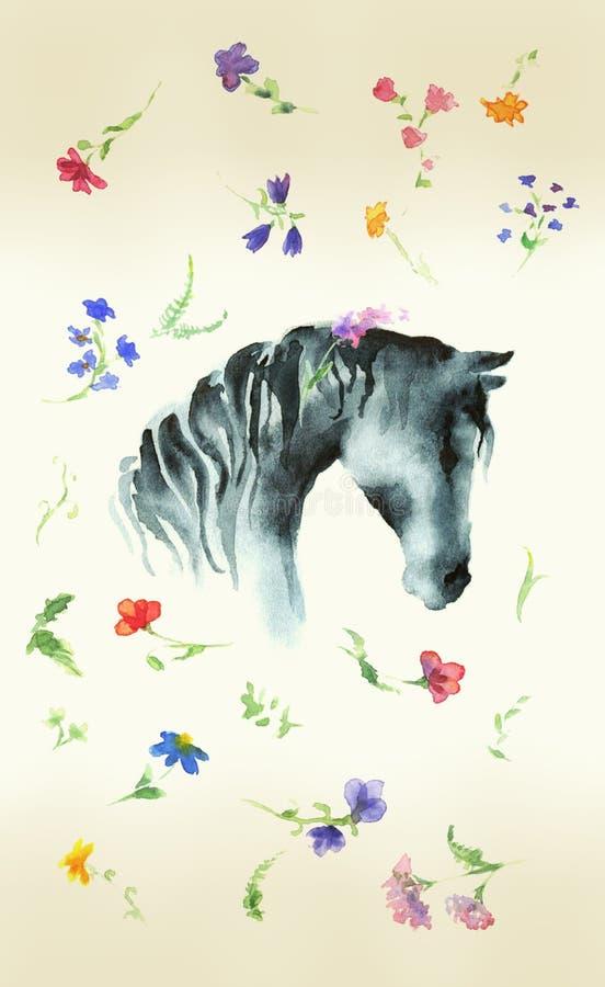 Aquarela do desenho da mão da silhueta da cabeça de cavalo com as flores selvagens no papel envelhecido ilustração royalty free