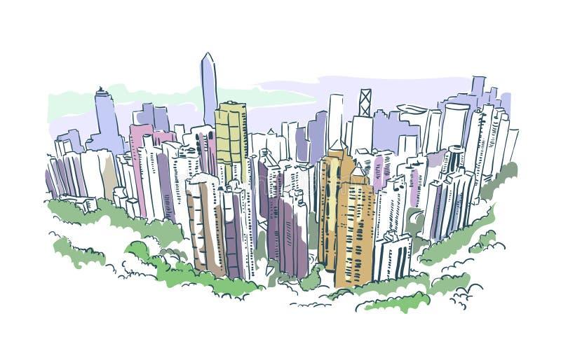 Aquarela do esboço do arranha-céus da ilustração do vetor de Hong Kong ilustração do vetor