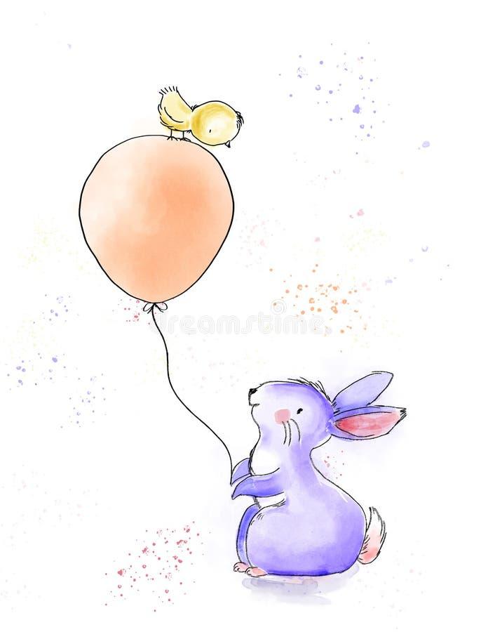 Aquarela do feliz aniversario e ilustração do vintage da tinta com coelho bonito e pintainho com um balão grande ilustração stock