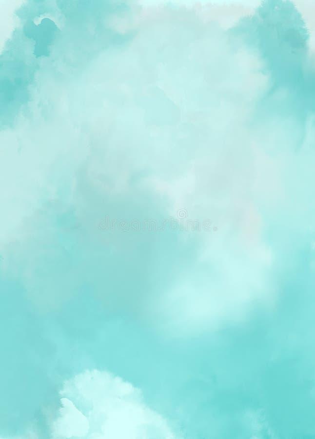 Aquarela do fundo da arte abstrato das nuvens do céu azul imagem de stock