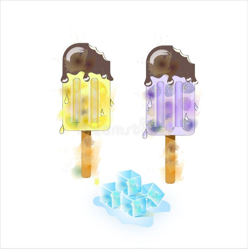 Aquarela do gelado do verão no chocolate Textura decorativa do vetor foto de stock