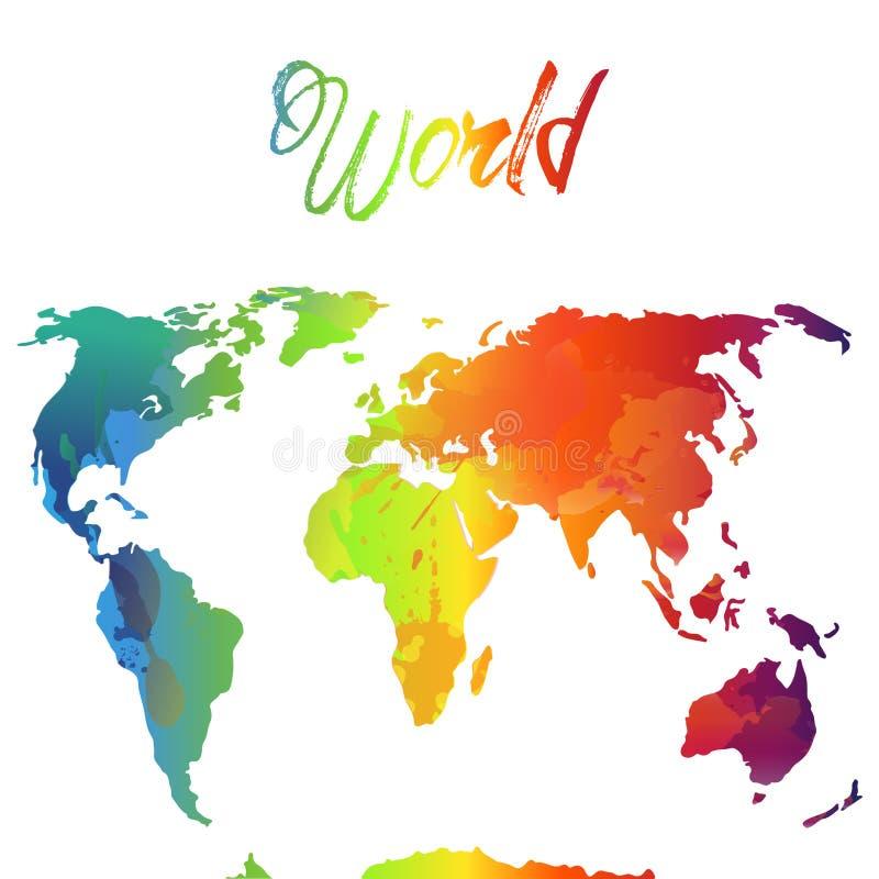 Aquarela do mapa do mundo, ilustração do vetor ARCO-ÍRIS E CORAÇÃO fotos de stock