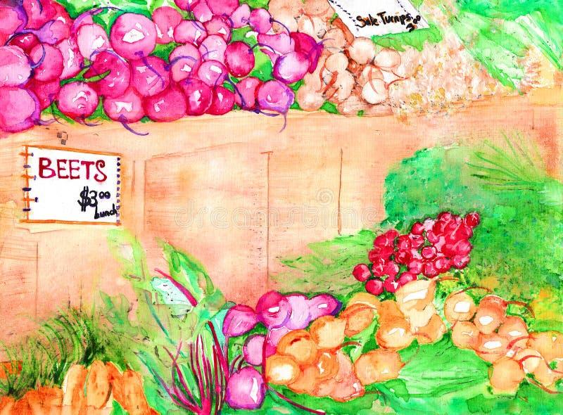 Aquarela do mercado dos fazendeiros ilustração do vetor