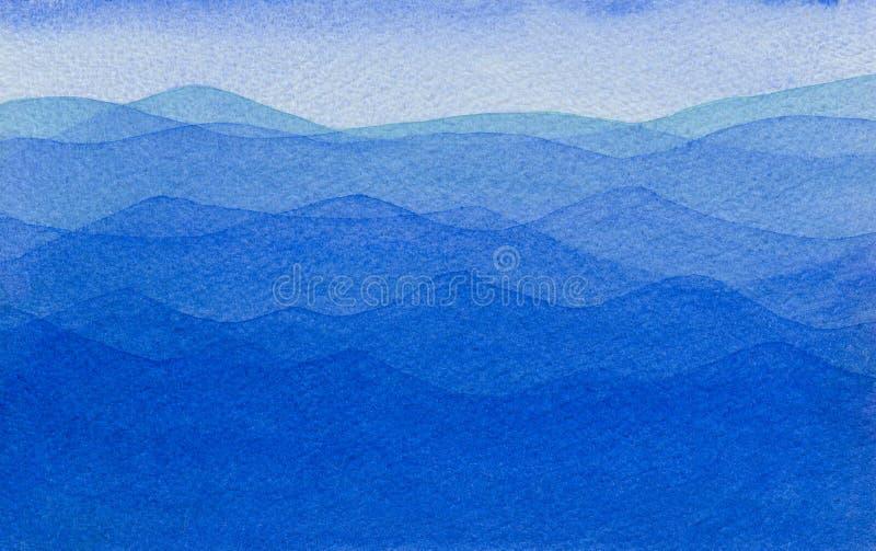 Aquarela do oceano azul com ondas ilustração stock
