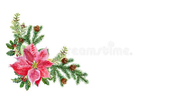 Aquarela do ramalhete do Natal Imagem da aquarela ilustração stock