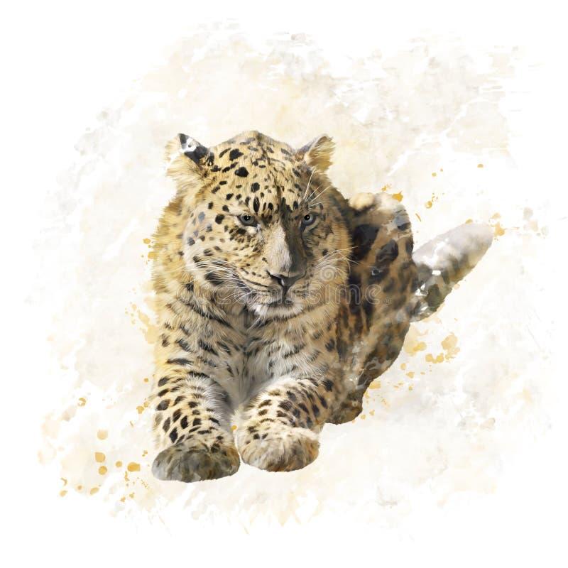Download Aquarela Do Retrato Do Leopardo Ilustração Stock - Ilustração de digital, watercolor: 65580264