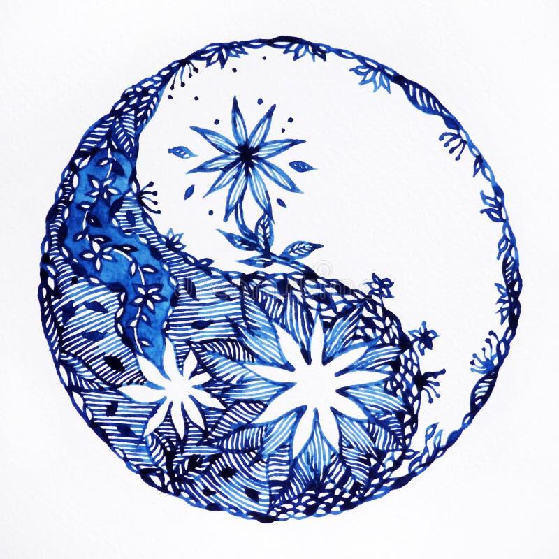 Aquarela do símbolo de Yin yang que pinta o teste padrão tirado do projeto mão mínima ilustração stock