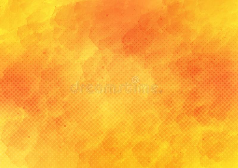 Aquarela do vetor e reticulação amarelas e alaranjadas Dots Pattern Background ilustração royalty free