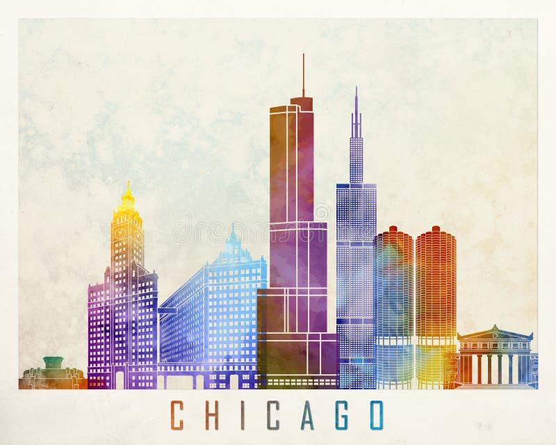 Aquarela dos marcos de Chicago ilustração do vetor