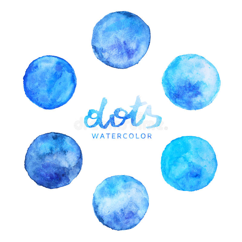 Aquarela Dots Set Blue foto de stock
