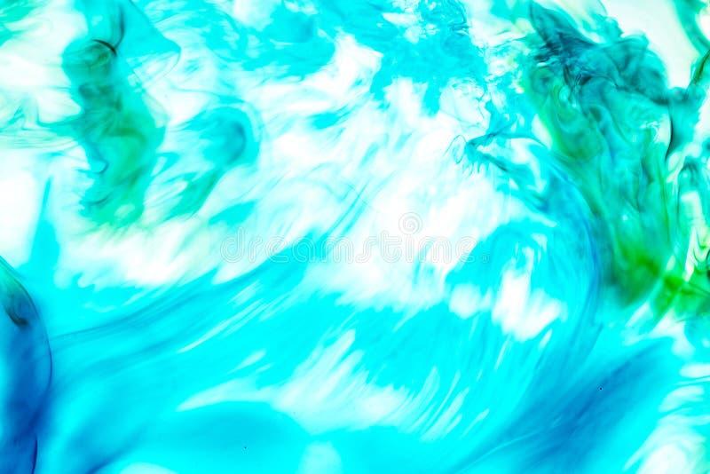 Aquarela e sum?rio acr?lico Fundo colorido A mistura, espirra e desenhos das cores: azul, turquesa, verde, amarelo, marrom fotografia de stock royalty free