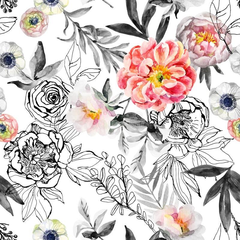A aquarela e a tinta rabiscam flores, folhas, teste padrão sem emenda das ervas daninhas ilustração royalty free