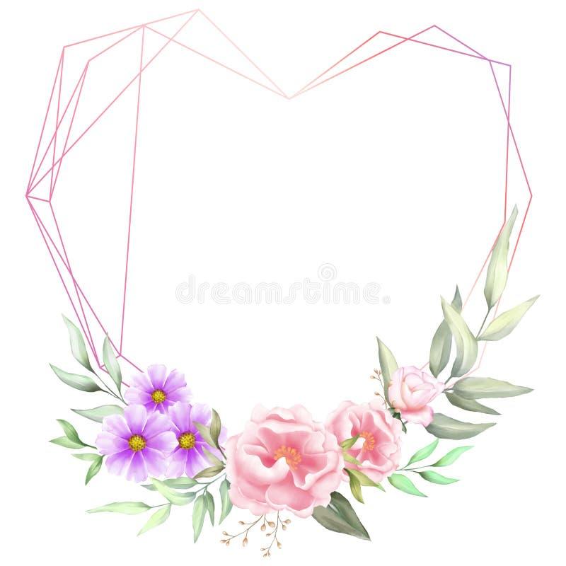 Aquarela floral com quadro geométrico dado forma coração As flores da peônia e do gerânio do desenho da mão salvar os cartões de  ilustração stock