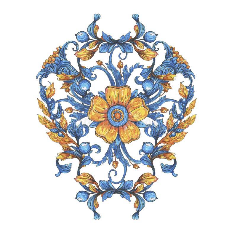Aquarela floral do elemento da tração da mão com flores Apropriado para a cópia na tela, na decoração do casamento, nas tampas e  ilustração stock