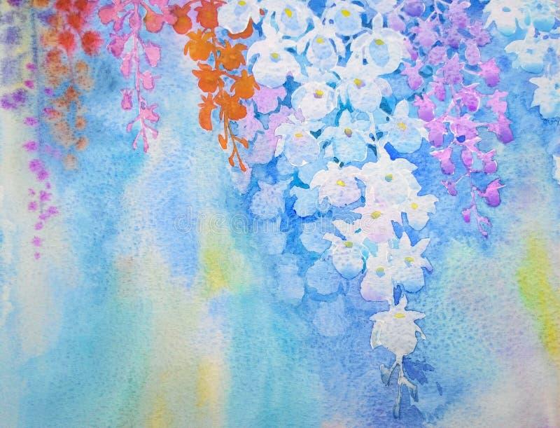A aquarela floresce colorido realístico original de pintura de flores da orquídea ilustração do vetor
