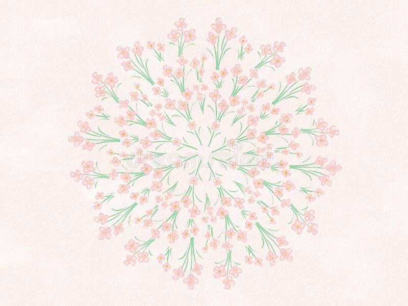 A aquarela floresce Mandala Illustration floral imagens de stock