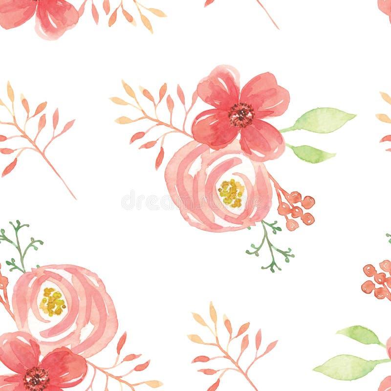 A aquarela floresce o verão sem emenda da mola de lâmina do ramalhete do teste padrão das folhas ilustração royalty free