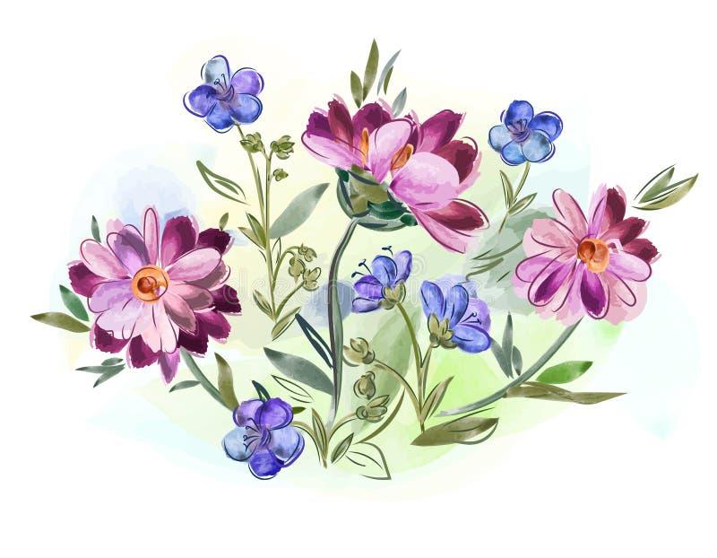 A aquarela floresce violetas e amor perfeito e sae-os no prado fotografia de stock royalty free