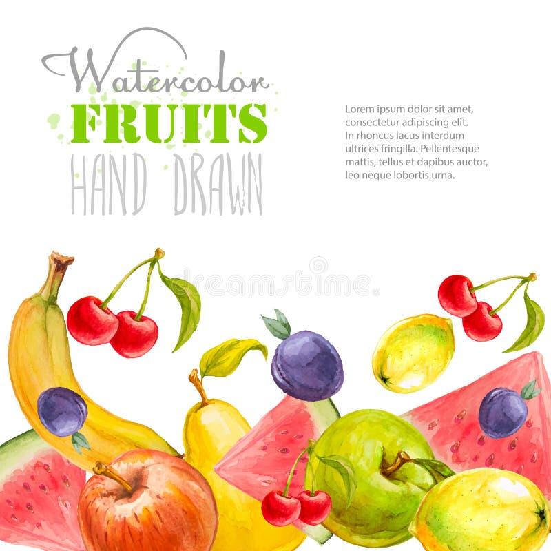 A aquarela frutifica fundo Ilustração desenhada mão do vetor ilustração do vetor