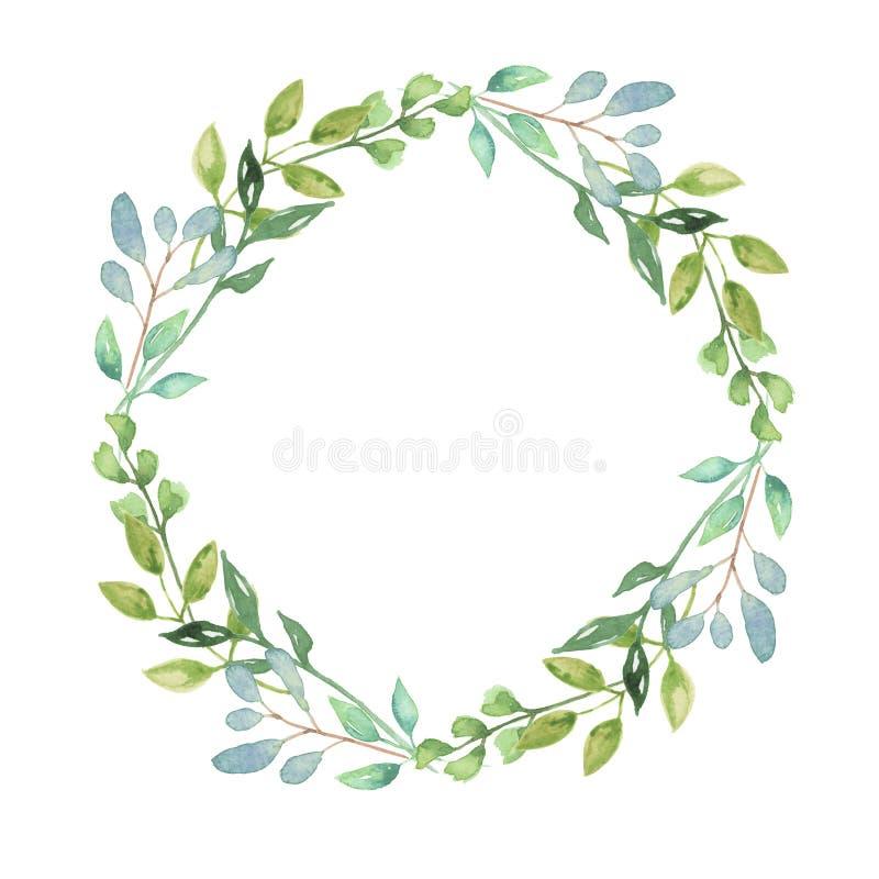 A aquarela Garland Summer Greenery Wreath Wedding sae do verde ilustração royalty free