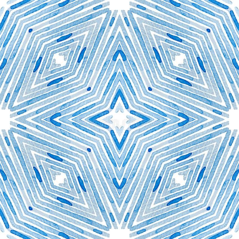 Aquarela geométrica azul Teste padrão sem emenda curioso Listras tiradas mão Textura da escova excepcional ilustração royalty free