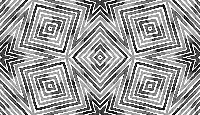 Aquarela geométrica preto e branco Teste padrão sem emenda creativo Listras tiradas mão Textura da escova ilustração royalty free