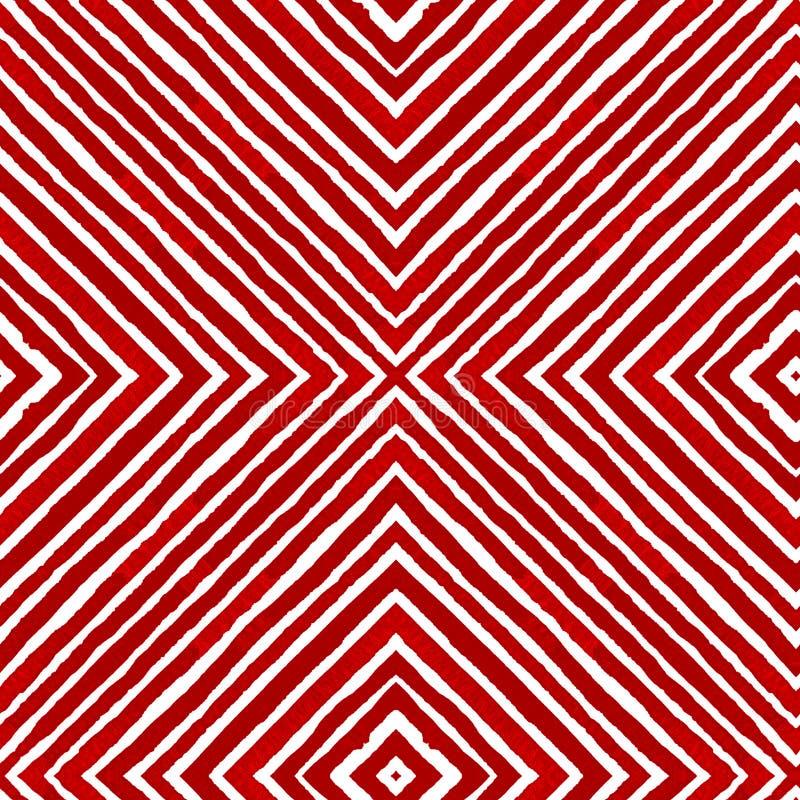 Aquarela geométrica vermelha Alinhador longitudinal sem emenda curioso ilustração do vetor