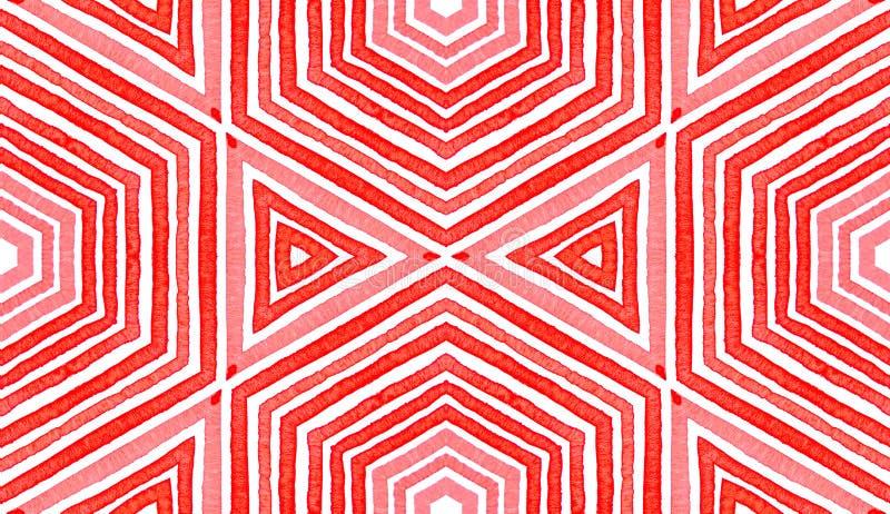 Aquarela geométrica vermelha cor-de-rosa Sem emenda delicioso imagens de stock royalty free