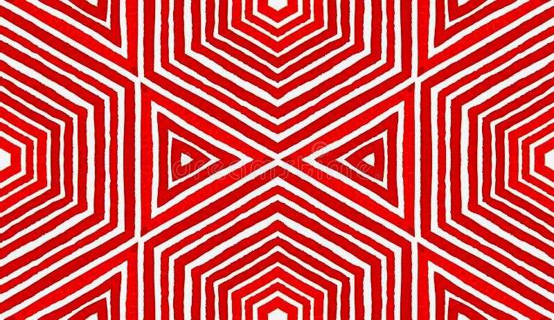 Aquarela geométrica vermelha cor-de-rosa Sem emenda delicioso imagens de stock