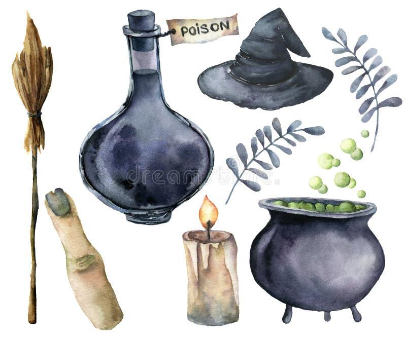 A aquarela helloween o grupo da mágica Garrafa pintado à mão do veneno, caldeirão com poção, vassoura, vela, dedo, chapéu da brux ilustração stock