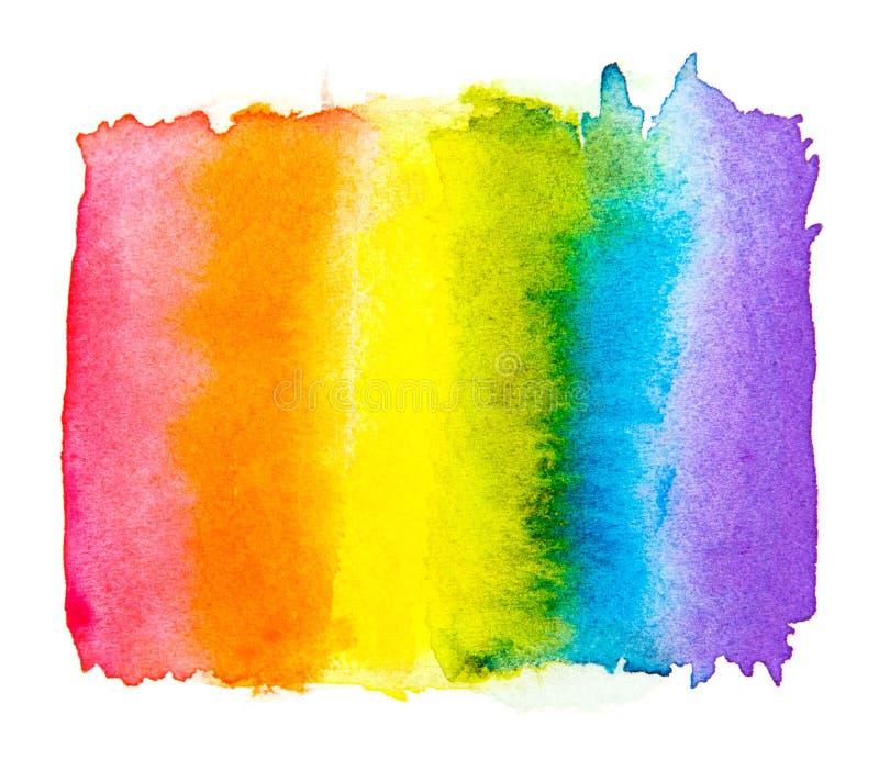 Aquarela isolada em um fundo branco, orgulho alegre LGBT do arco-íris, contra o conceito homossexual do símbolo da discriminação ilustração stock
