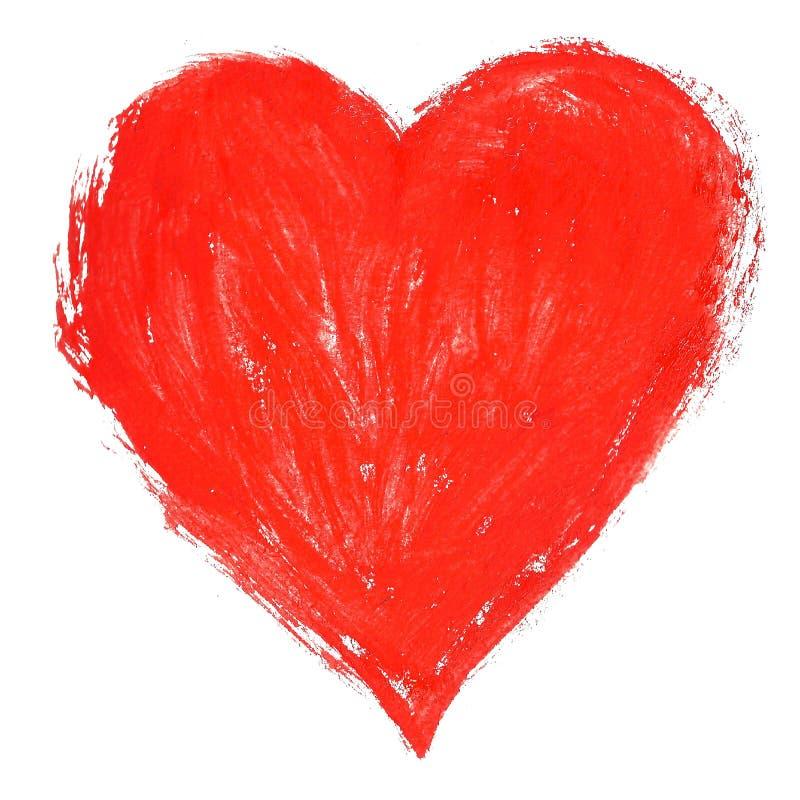 A aquarela isolou a ilustração de um símbolo vermelho do coração ilustração royalty free