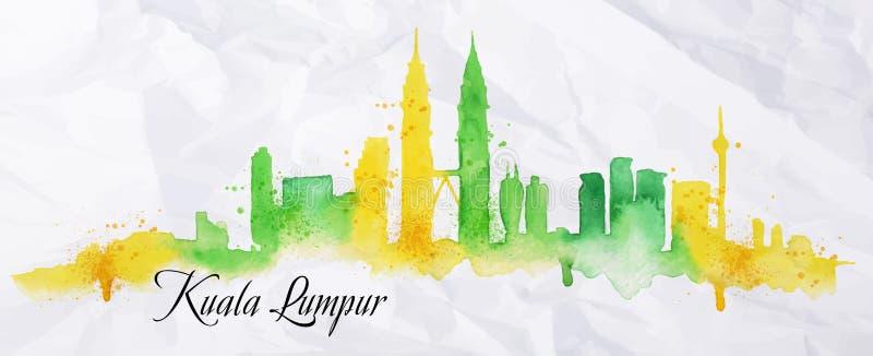 Aquarela Kuala Lumpur da silhueta ilustração royalty free