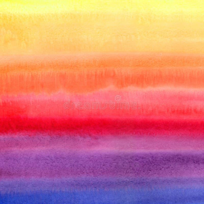 A aquarela listrada colorida brilhante mancha a textura quadrada ilustração stock