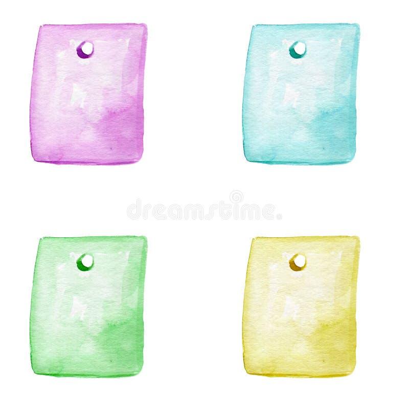 Aquarela multicolorido ajustada com a mão tirada com as etiquetas amarelas, cor-de-rosa, azuis, verdes isoladas no fundo branco ilustração stock