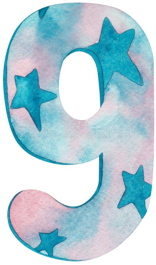 Aquarela número nove com rosa e cores azuis e estrelas ilustração do vetor