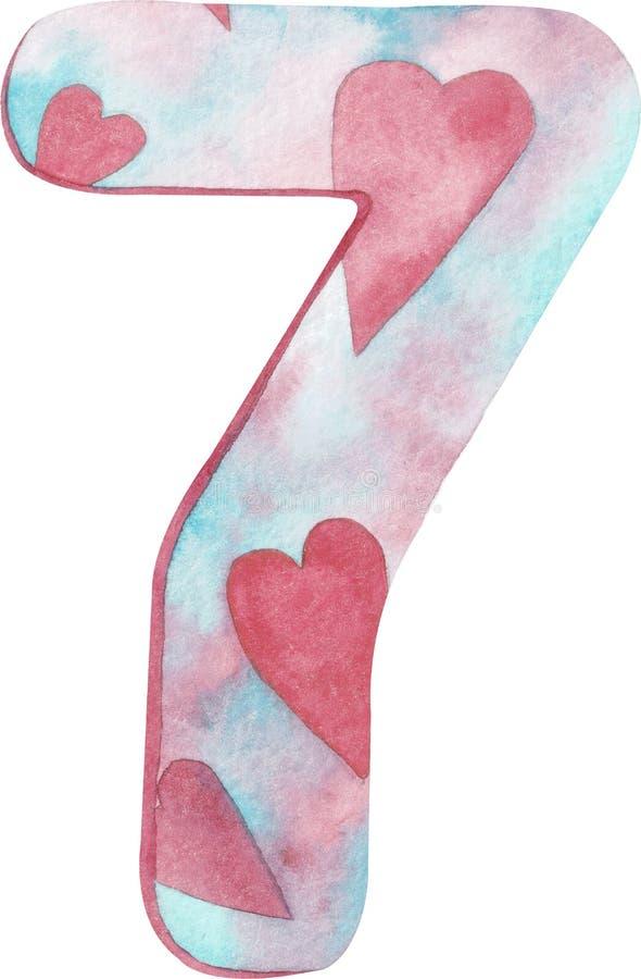Aquarela número sete com rosa e cores e corações azuis ilustração do vetor