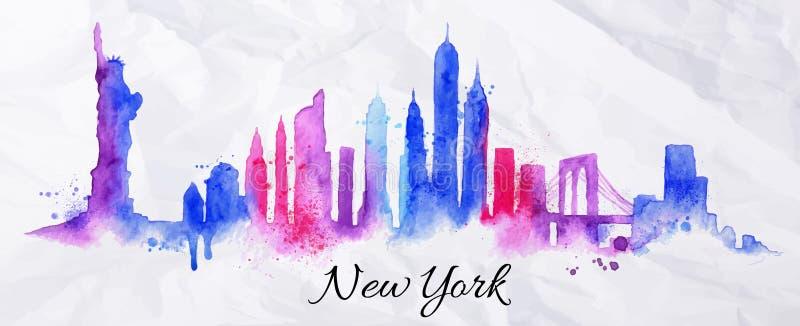 Aquarela New York da silhueta ilustração royalty free