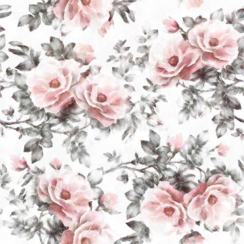 Aquarela no teste padrão sem emenda do teste padrão floral branco do fundo com flores e as folhas cor-de-rosa ilustração stock