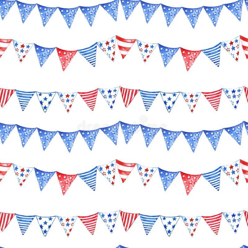 Aquarela 4o do teste padrão sem emenda de julho com bandeiras listradas, isolado no fundo branco Cores tradicionais de n?s bandei ilustração do vetor