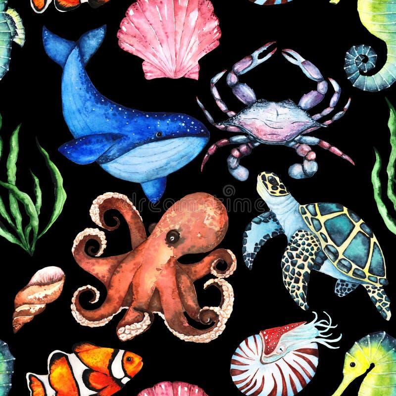 Aquarela Paterrn brilhante com muitos animais de mar diferentes ilustração stock