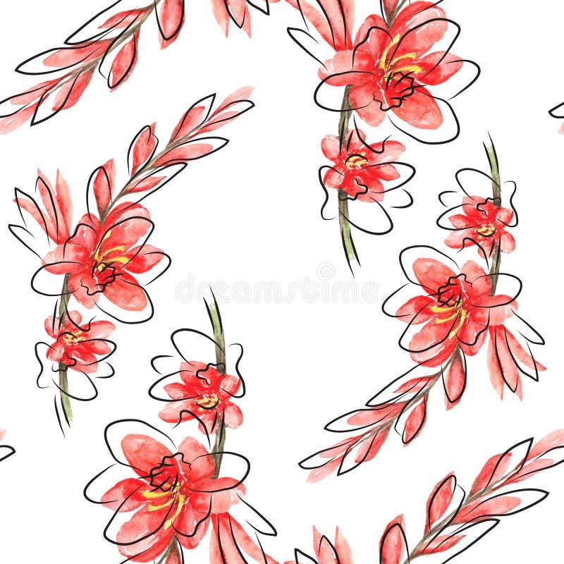 A aquarela Paterrn com vermelho floresce Montbretia e grafic brilhantes ilustração do vetor