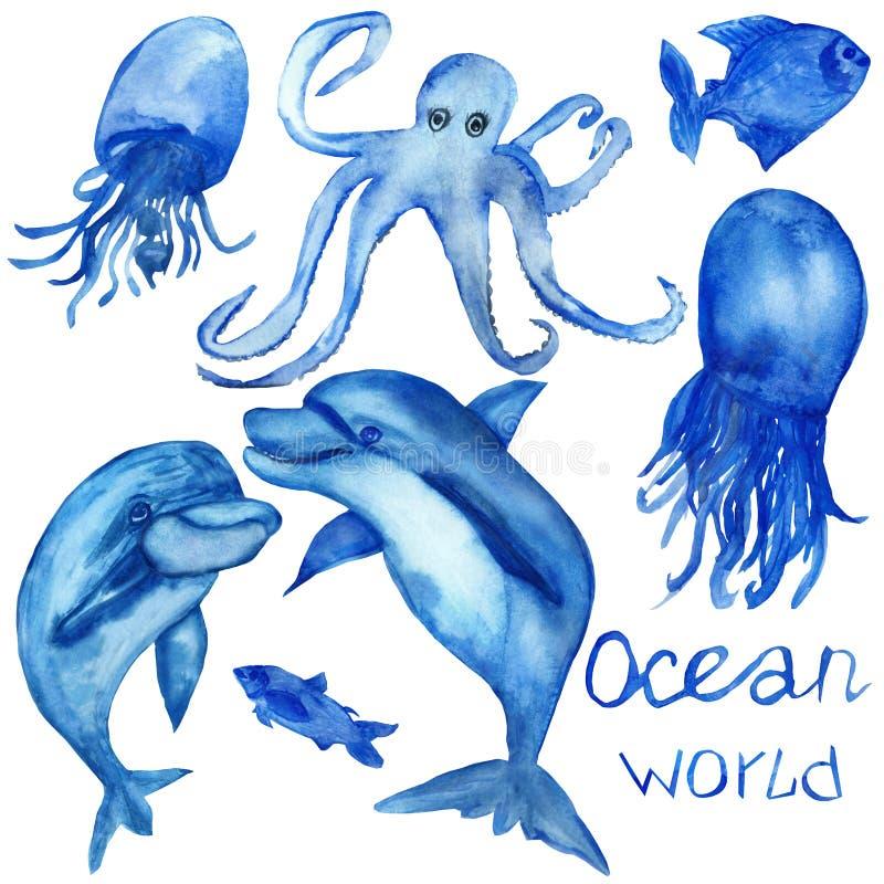 A aquarela pintado à mão, o grupo de golfinhos azuis da vida marinha, as medusa, os polvo e os peixes isolaram-se no fundo branco imagens de stock