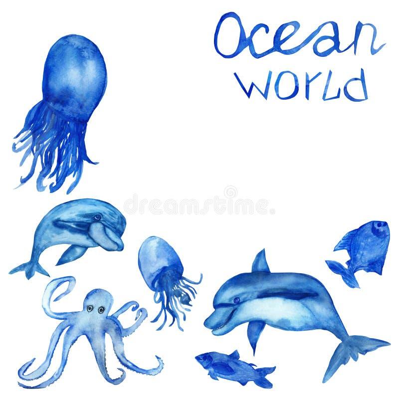 A aquarela pintado ? m?o, o grupo de golfinhos azuis da vida marinha, as medusa, os polvo e os peixes isolaram-se no fundo branco foto de stock royalty free