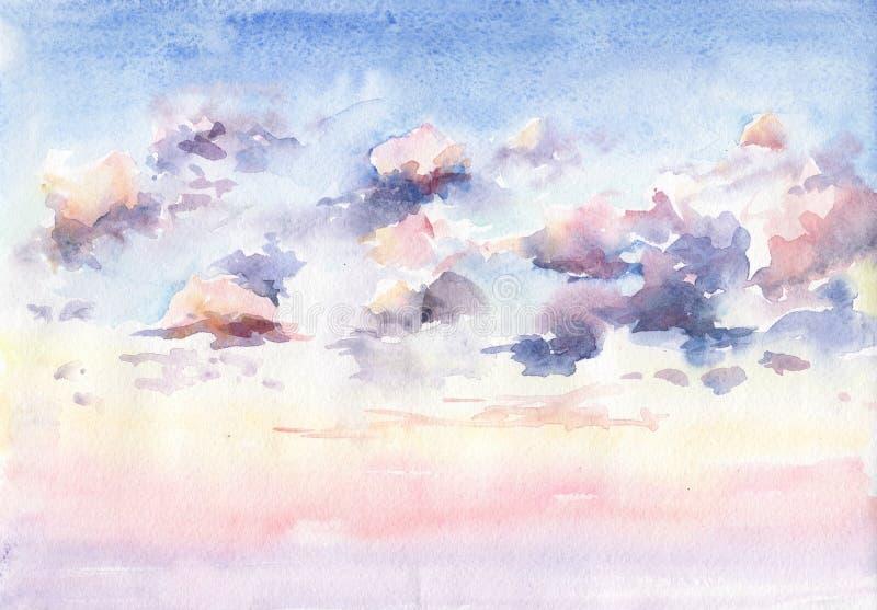 A aquarela pintou a imagem do por do sol bonito com nuvens imagem de stock
