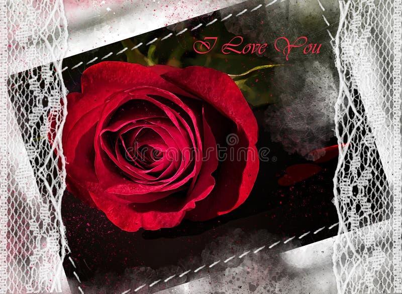 A aquarela pintou a rosa vermelha estilizado bonita ilustração royalty free