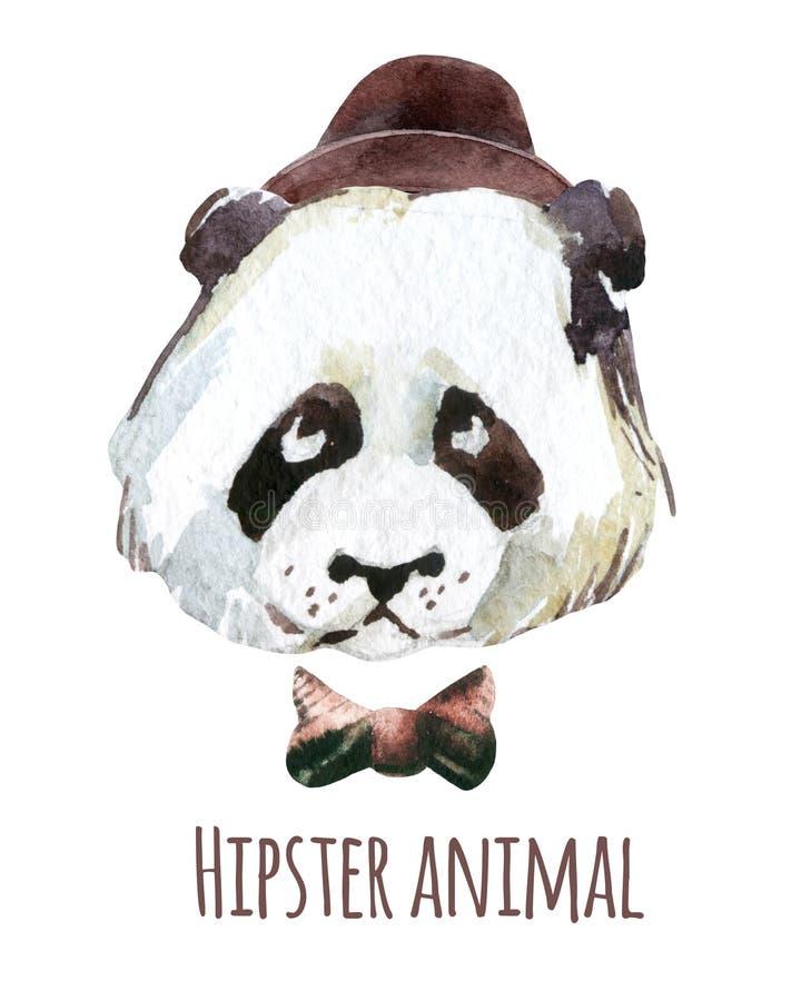 Aquarela principal da panda ilustração stock