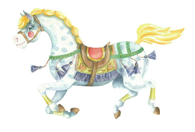 Aquarela que corre o cavalo amarelo ilustração royalty free
